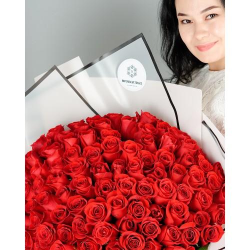Купить на заказ Букет из 101 красной розы с доставкой в Ерейментау