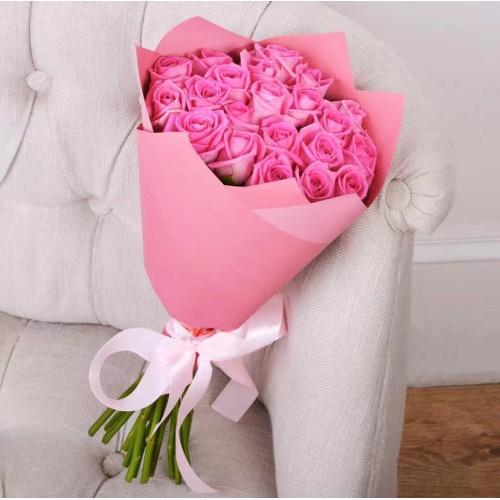 Купить на заказ Букет из 21 розовой розы с доставкой в Ерейментау