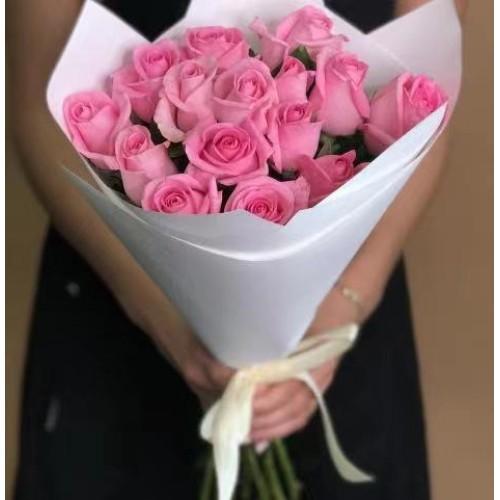 Купить на заказ 15 розовых роз с доставкой в Ерейментау