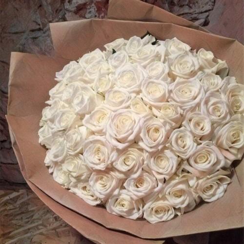 Купить на заказ Букет из 101 белой розы с доставкой в Ерейментау
